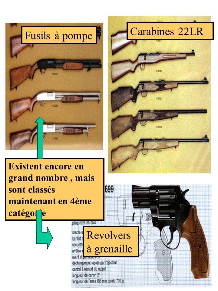 Carabines 22LR Revolvers à grenaille Fusils à pompe Existent encore en grand nombre, mais sont classés maintenant en 4ème catégorie