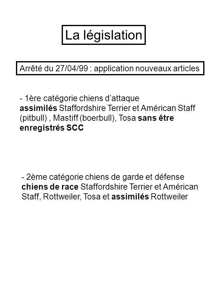 Arrêté du 27/04/99 : application nouveaux articles - 1ère catégorie chiens dattaque assimilés Staffordshire Terrier et Américan Staff (pitbull), Masti