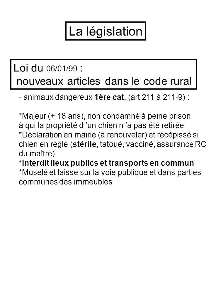 Loi du 06/01/99 : nouveaux articles dans le code rural - animaux dangereux 1ère cat. (art 211 à 211-9) : *Majeur (+ 18 ans), non condamné à peine pris