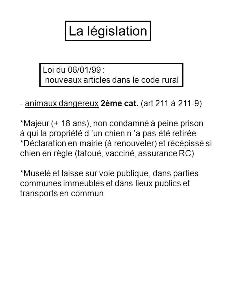 Loi du 06/01/99 : nouveaux articles dans le code rural - animaux dangereux 2ème cat. (art 211 à 211-9) *Majeur (+ 18 ans), non condamné à peine prison
