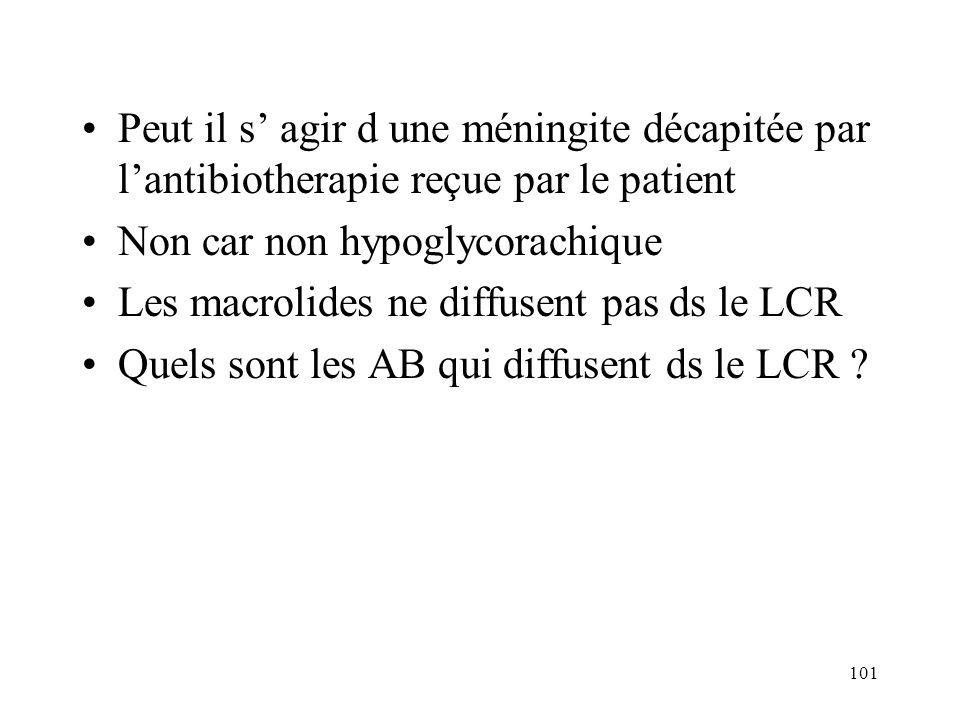 101 Peut il s agir d une méningite décapitée par lantibiotherapie reçue par le patient Non car non hypoglycorachique Les macrolides ne diffusent pas ds le LCR Quels sont les AB qui diffusent ds le LCR ?