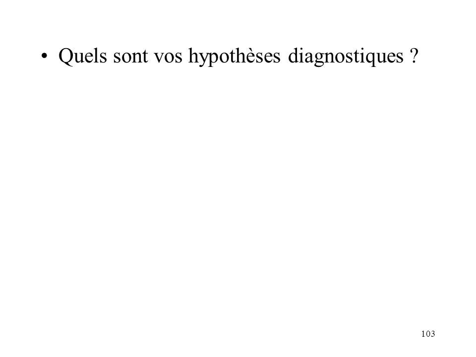 103 Quels sont vos hypothèses diagnostiques ?