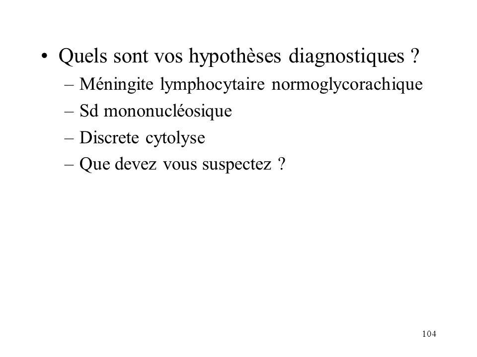 104 Quels sont vos hypothèses diagnostiques .