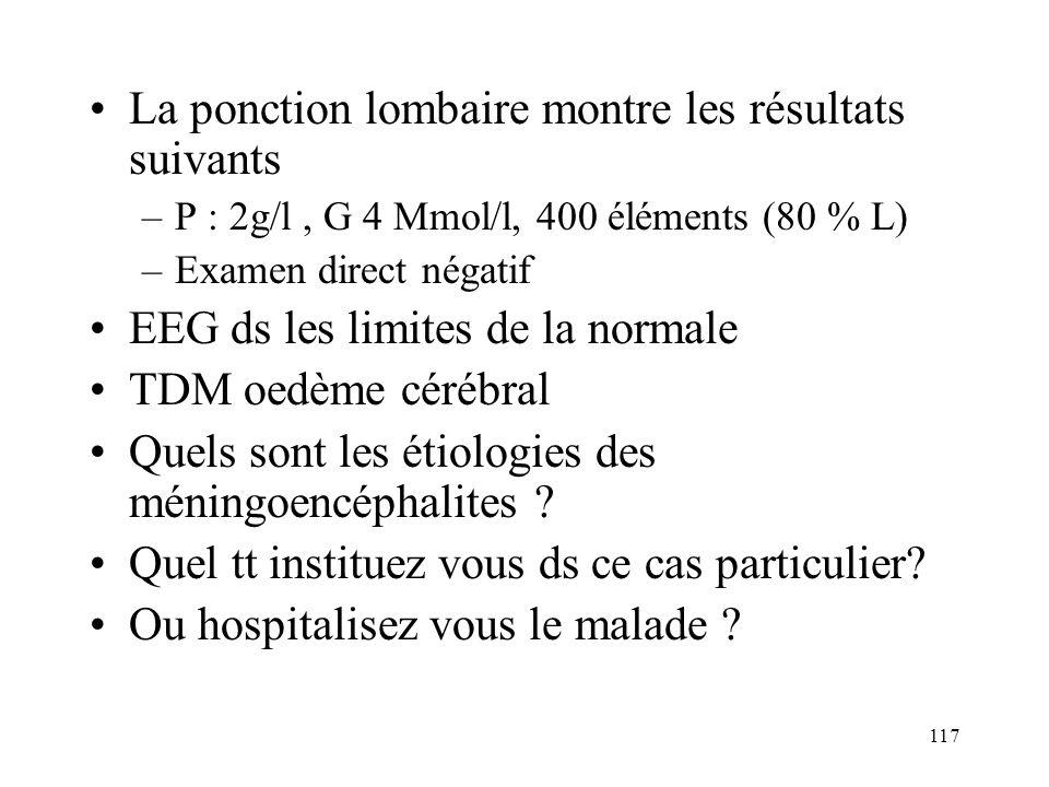 117 La ponction lombaire montre les résultats suivants –P : 2g/l, G 4 Mmol/l, 400 éléments (80 % L) –Examen direct négatif EEG ds les limites de la normale TDM oedème cérébral Quels sont les étiologies des méningoencéphalites .