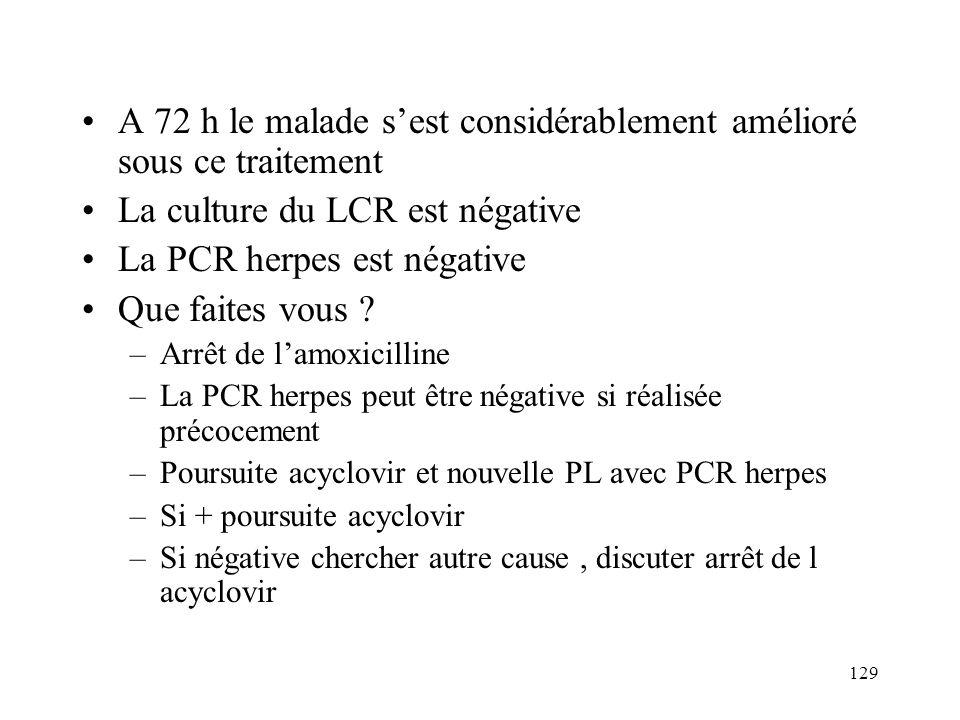 129 A 72 h le malade sest considérablement amélioré sous ce traitement La culture du LCR est négative La PCR herpes est négative Que faites vous .