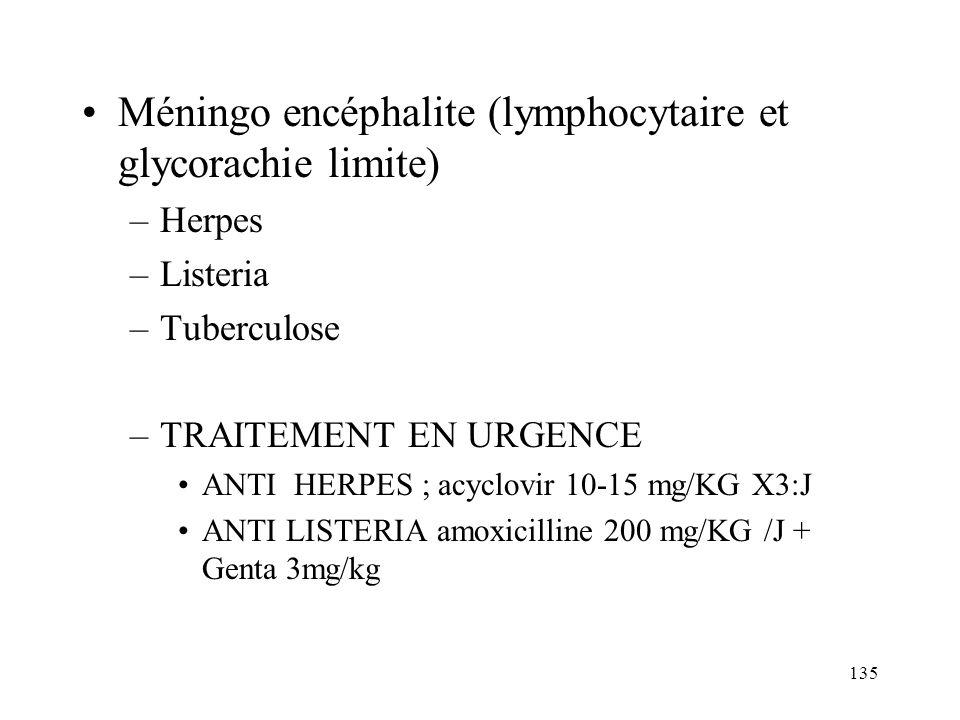 135 Méningo encéphalite (lymphocytaire et glycorachie limite) –Herpes –Listeria –Tuberculose –TRAITEMENT EN URGENCE ANTI HERPES ; acyclovir 10-15 mg/KG X3:J ANTI LISTERIA amoxicilline 200 mg/KG /J + Genta 3mg/kg