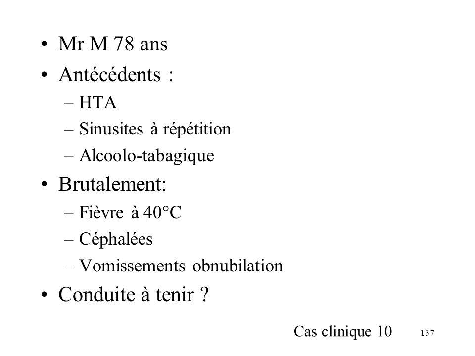137 Mr M 78 ans Antécédents : –HTA –Sinusites à répétition –Alcoolo-tabagique Brutalement: –Fièvre à 40°C –Céphalées –Vomissements obnubilation Conduite à tenir .