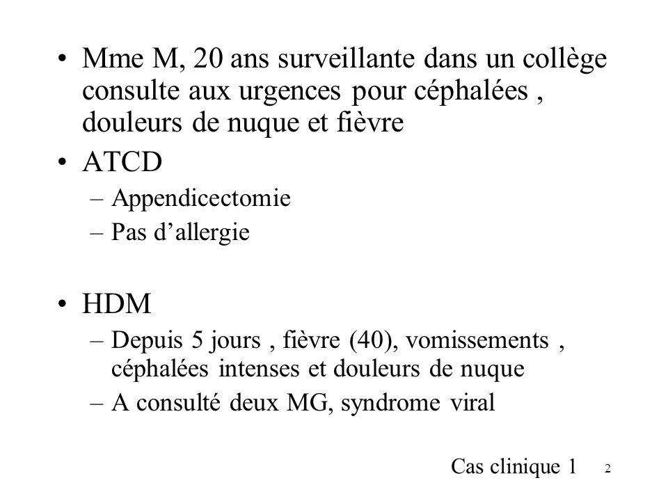 113 Meningo-encephalites Signes cliniques –Sd méningé –Syndrome infectieux –Troubles de la conscience –Crises convulsives –Signes déficitaires variés