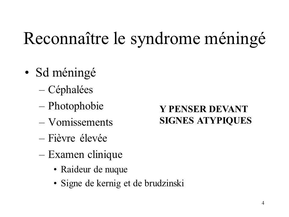 4 Reconnaître le syndrome méningé Sd méningé –Céphalées –Photophobie –Vomissements –Fièvre élevée –Examen clinique Raideur de nuque Signe de kernig et de brudzinski Y PENSER DEVANT SIGNES ATYPIQUES