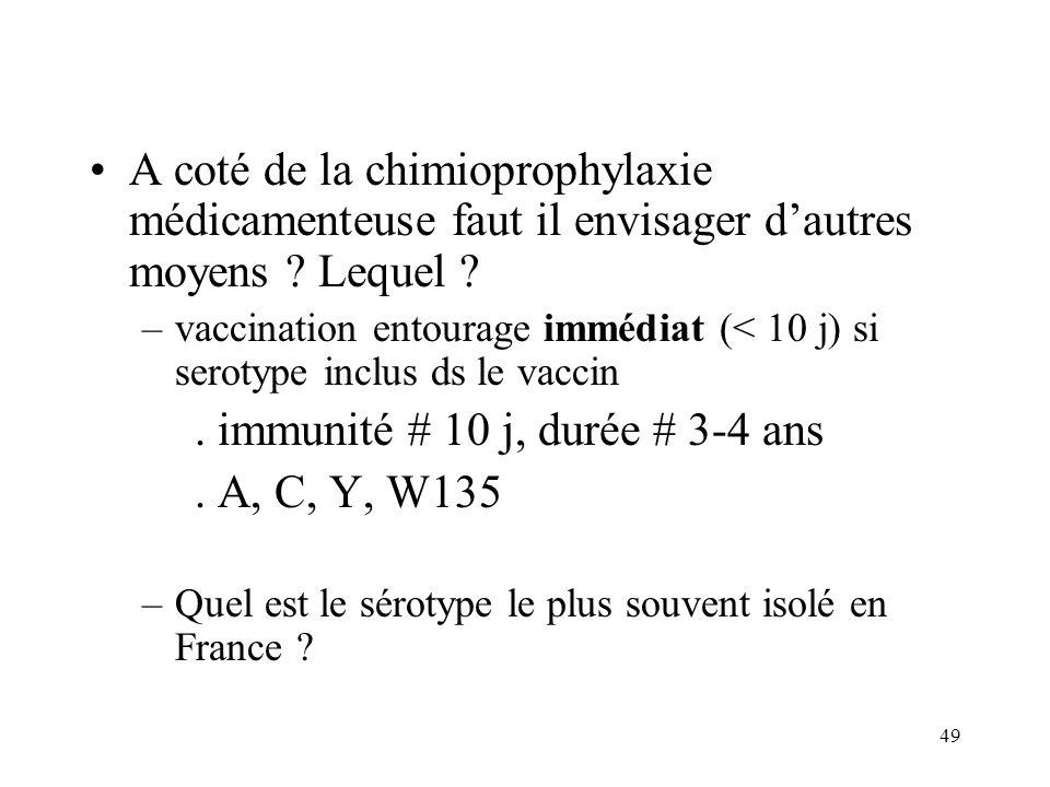 49 A coté de la chimioprophylaxie médicamenteuse faut il envisager dautres moyens .