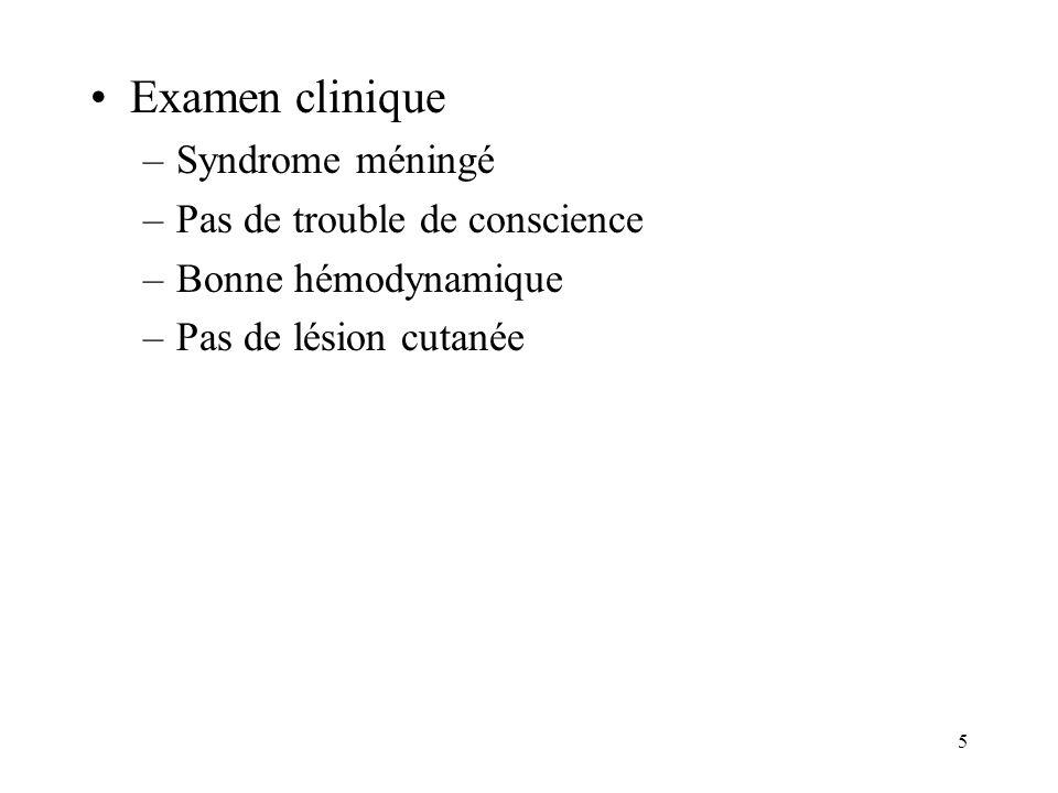 146 Méningites bactériennes: physiopathologie Méningocoque = bactériémie Pneumocoque = contiguïté le plus souvent Hemophilus = bactériémie Listéria = bactériémie