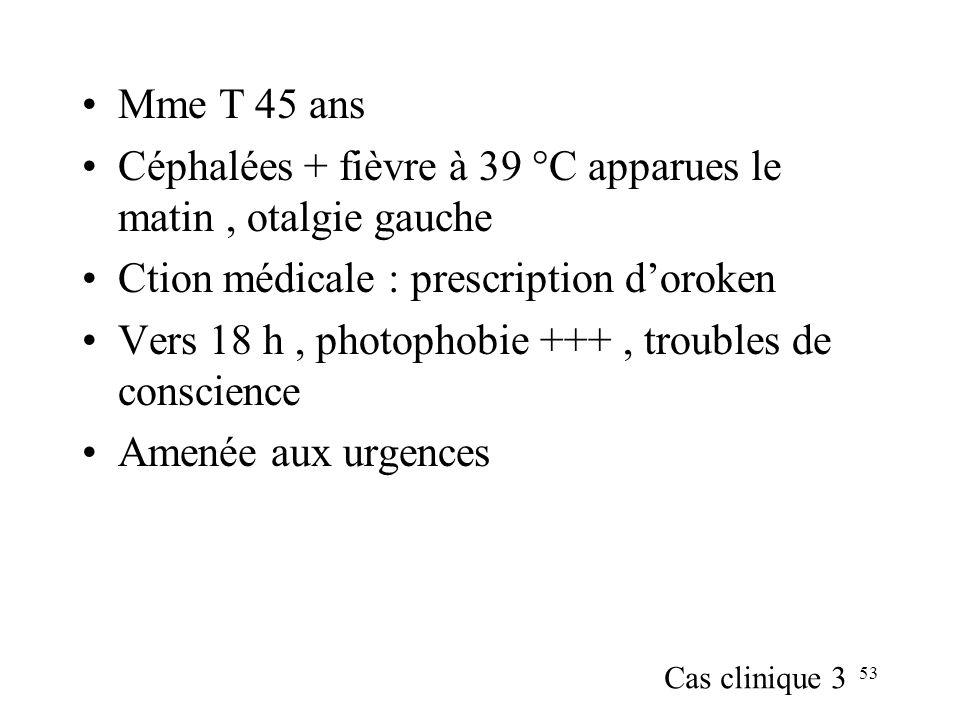 53 Mme T 45 ans Céphalées + fièvre à 39 °C apparues le matin, otalgie gauche Ction médicale : prescription doroken Vers 18 h, photophobie +++, troubles de conscience Amenée aux urgences Cas clinique 3