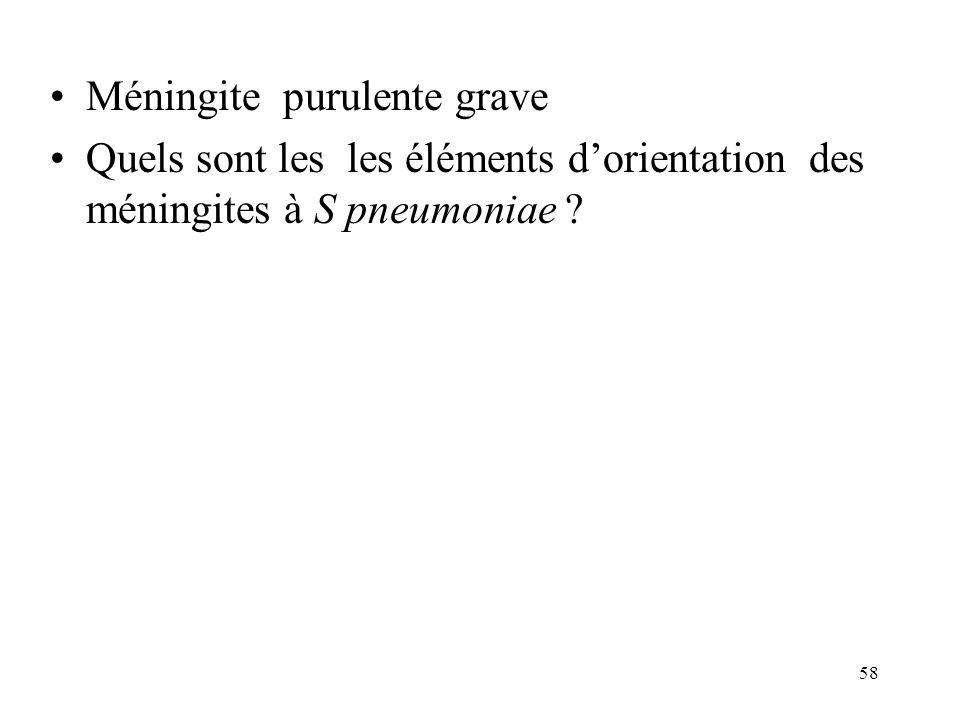 58 Méningite purulente grave Quels sont les les éléments dorientation des méningites à S pneumoniae ?