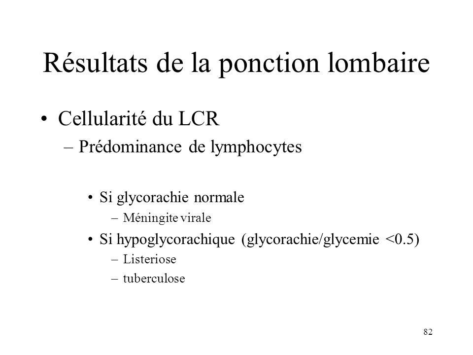 82 Résultats de la ponction lombaire Cellularité du LCR –Prédominance de lymphocytes Si glycorachie normale –Méningite virale Si hypoglycorachique (glycorachie/glycemie <0.5) –Listeriose –tuberculose