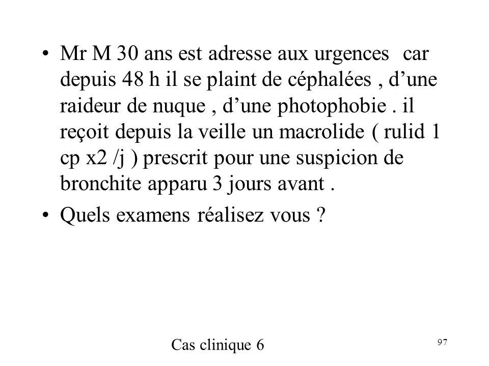 97 Mr M 30 ans est adresse aux urgences car depuis 48 h il se plaint de céphalées, dune raideur de nuque, dune photophobie.