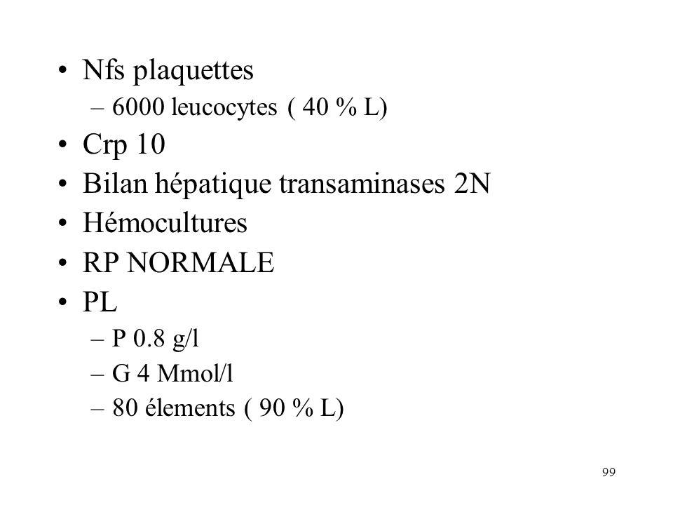 99 Nfs plaquettes –6000 leucocytes ( 40 % L) Crp 10 Bilan hépatique transaminases 2N Hémocultures RP NORMALE PL –P 0.8 g/l –G 4 Mmol/l –80 élements ( 90 % L)