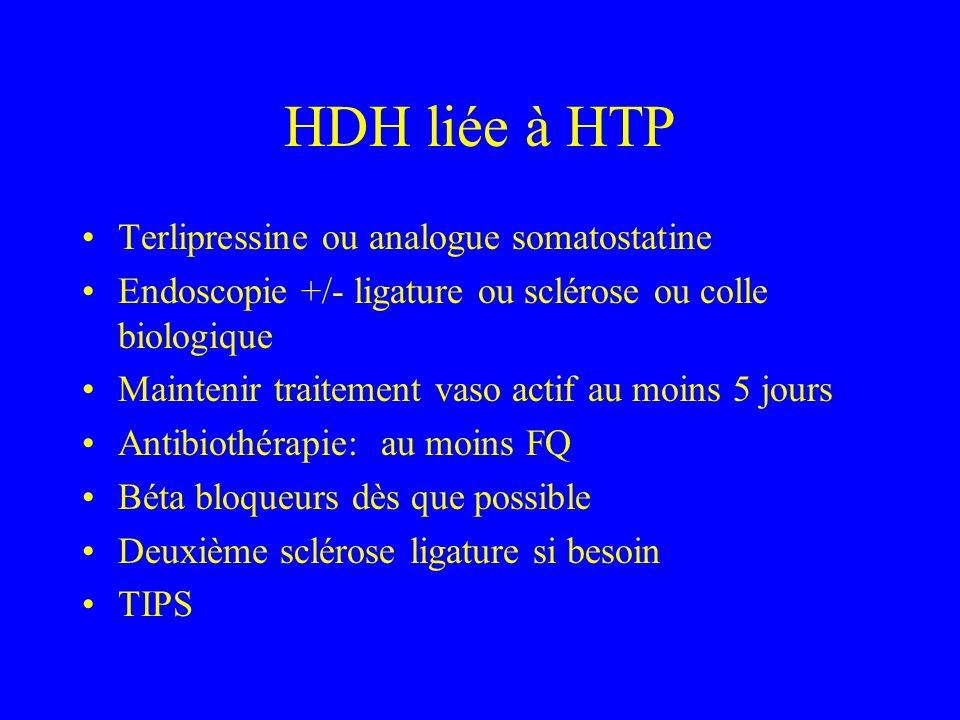HDH liée à HTP Terlipressine ou analogue somatostatine Endoscopie +/- ligature ou sclérose ou colle biologique Maintenir traitement vaso actif au moins 5 jours Antibiothérapie: au moins FQ Béta bloqueurs dès que possible Deuxième sclérose ligature si besoin TIPS