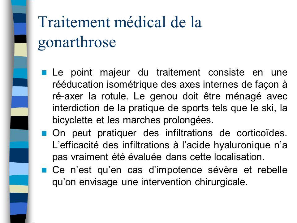 Traitement médical de la gonarthrose Le point majeur du traitement consiste en une rééducation isométrique des axes internes de façon à ré-axer la rotule.