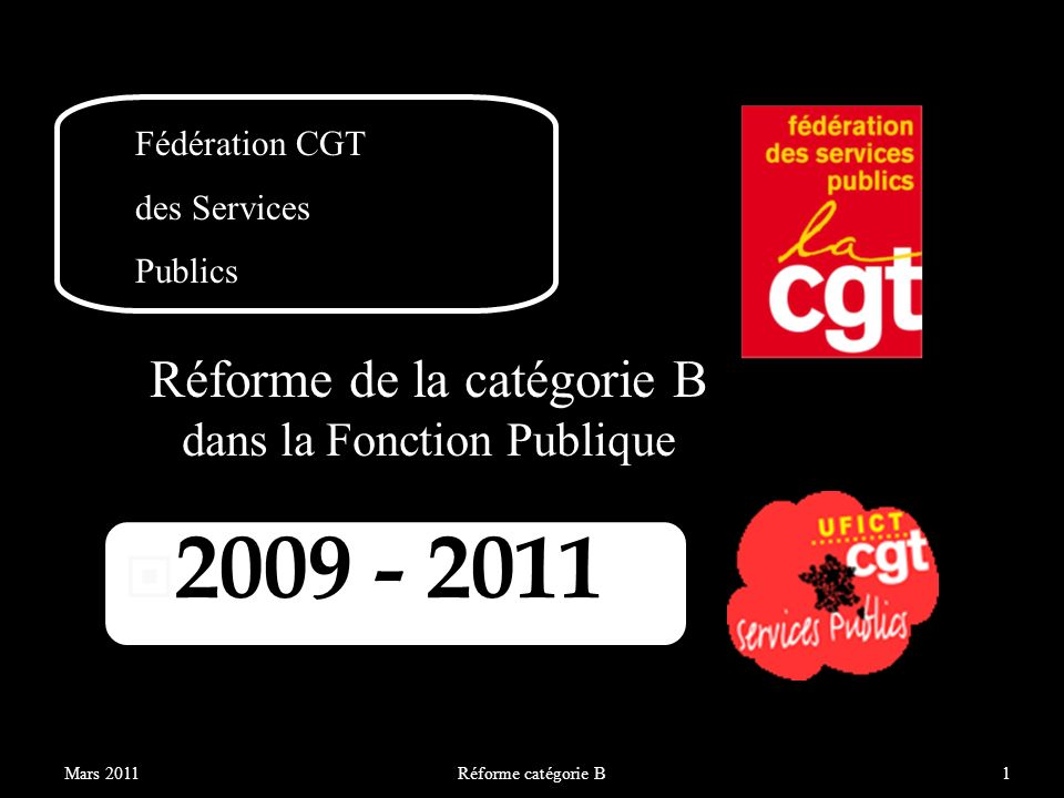 La réforme de la catégorie B dans la Fonction Publique devait être achevée au 31 décembre 2011 Reportée fin 2012 Réforme catégorie B2Mars 2011 Nous sommes à mi-parcours.