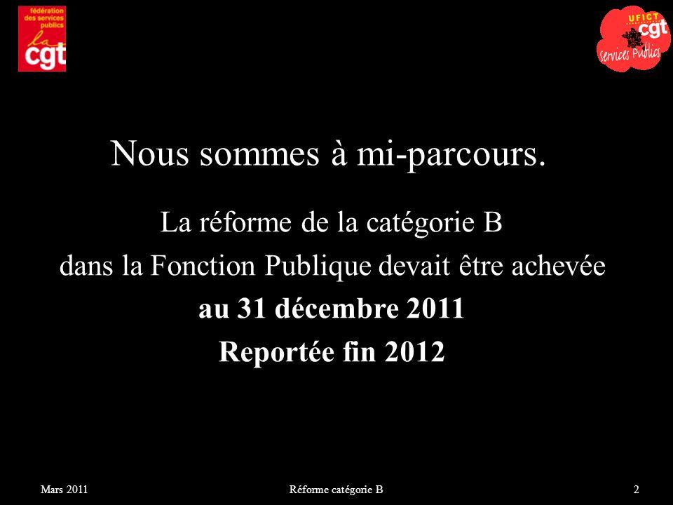 La réforme de la catégorie B dans la Fonction Publique devait être achevée au 31 décembre 2011 Reportée fin 2012 Réforme catégorie B2Mars 2011 Nous so