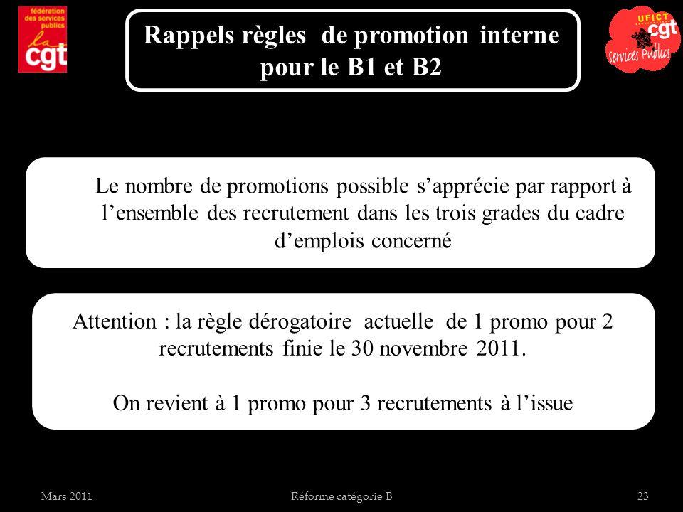 Mars 2011Réforme catégorie B23 Rappels règles de promotion interne pour le B1 et B2 Le nombre de promotions possible sapprécie par rapport à lensemble des recrutement dans les trois grades du cadre demplois concerné Attention : la règle dérogatoire actuelle de 1 promo pour 2 recrutements finie le 30 novembre 2011.