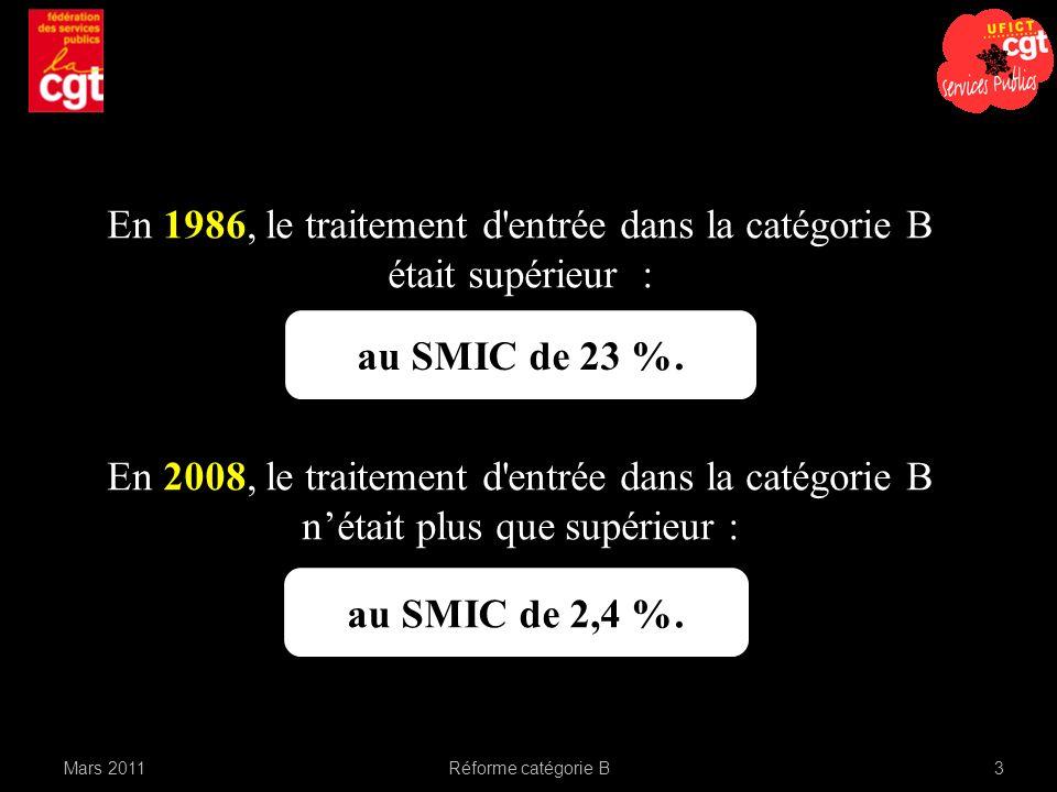 au SMIC de 23 %. En 1986, le traitement d'entrée dans la catégorie B était supérieur : En 2008, le traitement d'entrée dans la catégorie B nétait plus