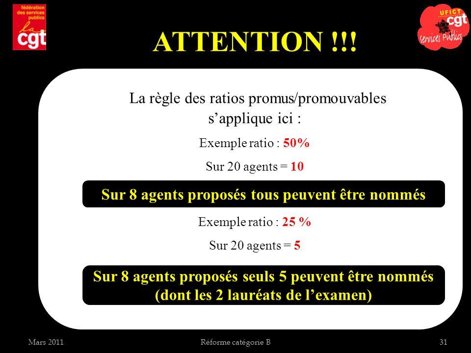 Mars 2011Réforme catégorie B31 ATTENTION !!! La règle des ratios promus/promouvables sapplique ici : Exemple ratio : 50% Sur 20 agents = 10 Exemple ra
