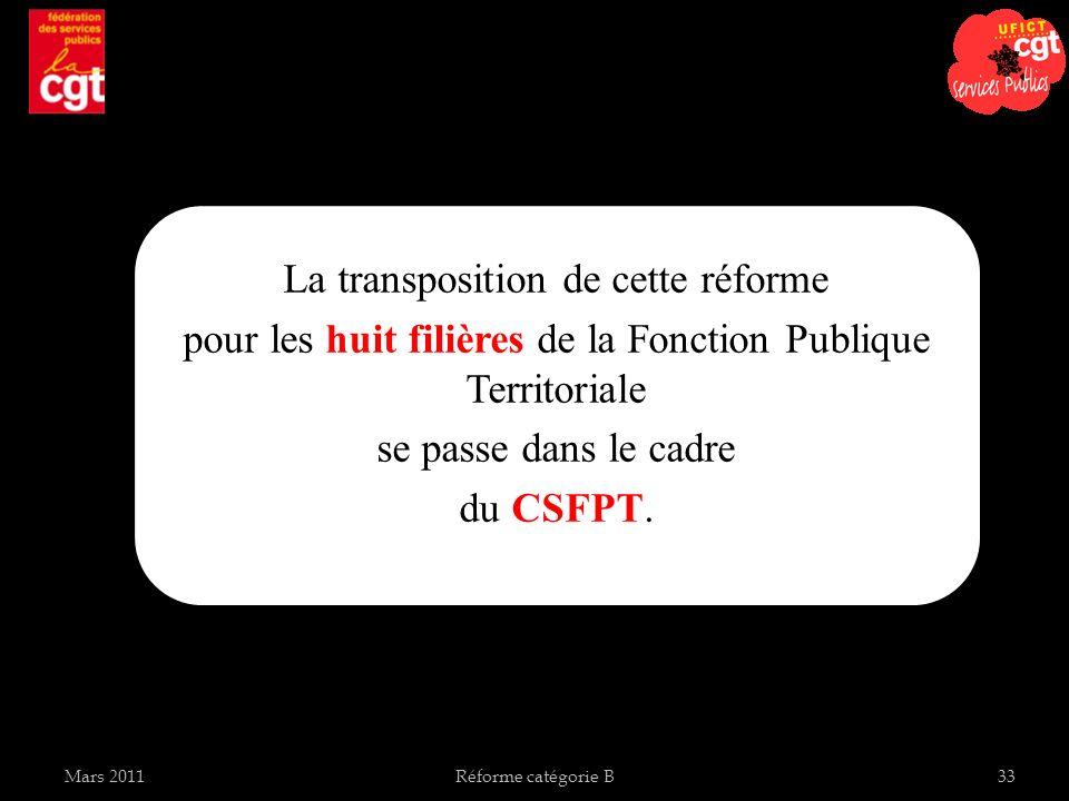 La transposition de cette réforme pour les huit filières de la Fonction Publique Territoriale se passe dans le cadre du CSFPT. Réforme catégorie B33Ma