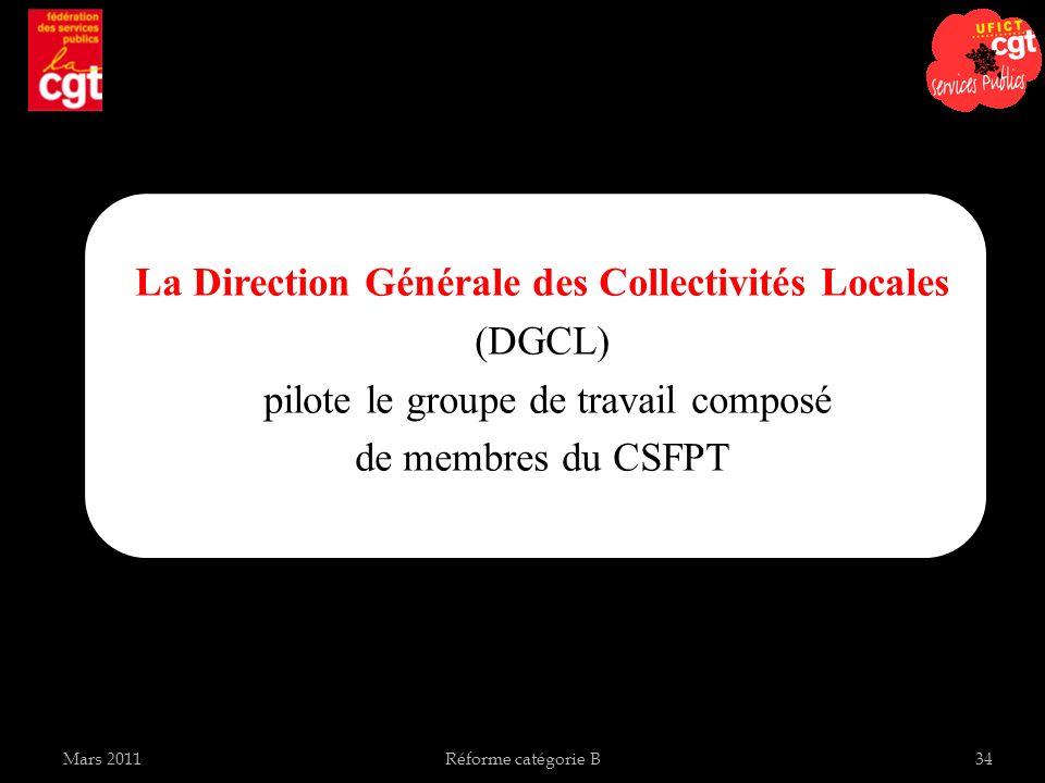 La Direction Générale des Collectivités Locales (DGCL) pilote le groupe de travail composé de membres du CSFPT Mars 2011Réforme catégorie B34