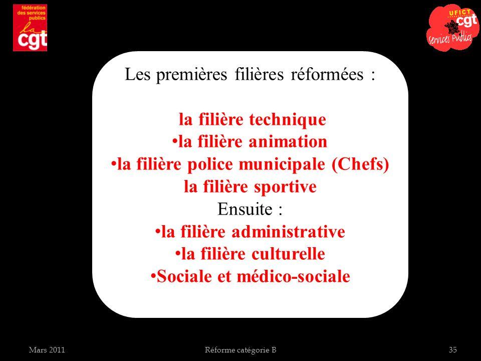 Les premières filières réformées : la filière technique la filière animation la filière police municipale (Chefs) la filière sportive Ensuite : la fil