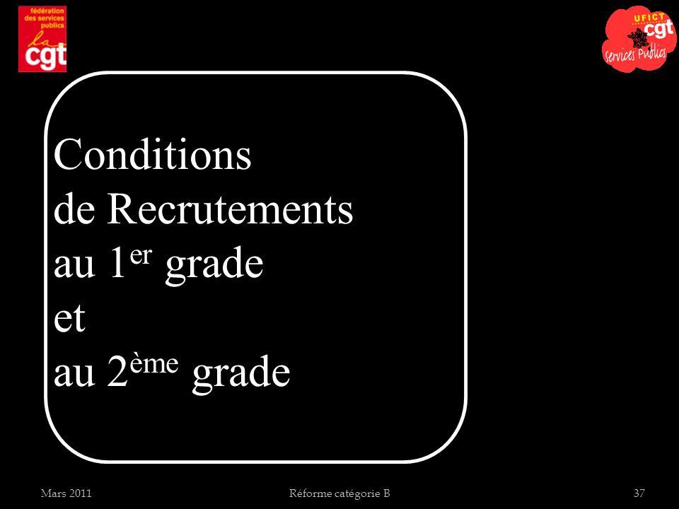 Réforme catégorie B37 Conditions de Recrutements au 1 er grade et au 2 ème grade