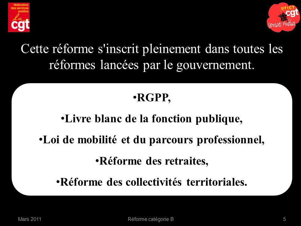 RGPP, Livre blanc de la fonction publique, Loi de mobilité et du parcours professionnel, Réforme des retraites, Réforme des collectivités territoriales.