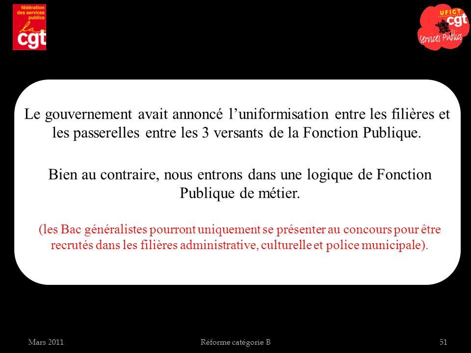 Mars 2011Réforme catégorie B51 Le gouvernement avait annoncé luniformisation entre les filières et les passerelles entre les 3 versants de la Fonction