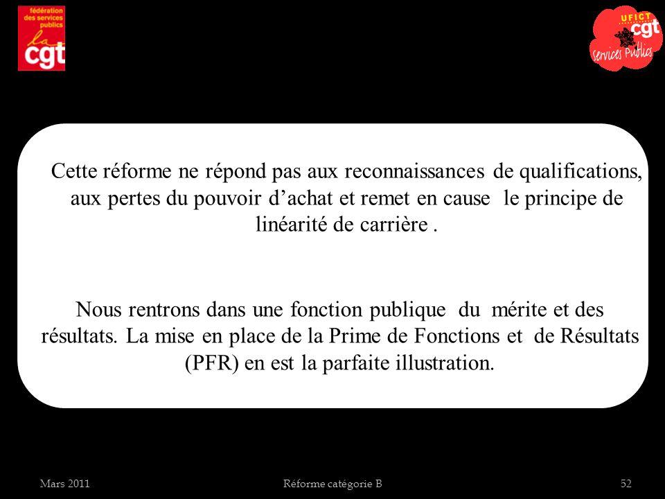 Mars 2011Réforme catégorie B52 Cette réforme ne répond pas aux reconnaissances de qualifications, aux pertes du pouvoir dachat et remet en cause le principe de linéarité de carrière.