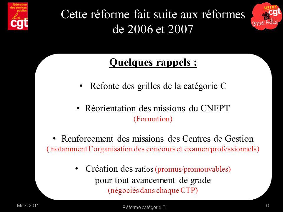 Réforme catégorie B 6 Cette réforme fait suite aux réformes de 2006 et 2007 Quelques rappels : Refonte des grilles de la catégorie C Réorientation des