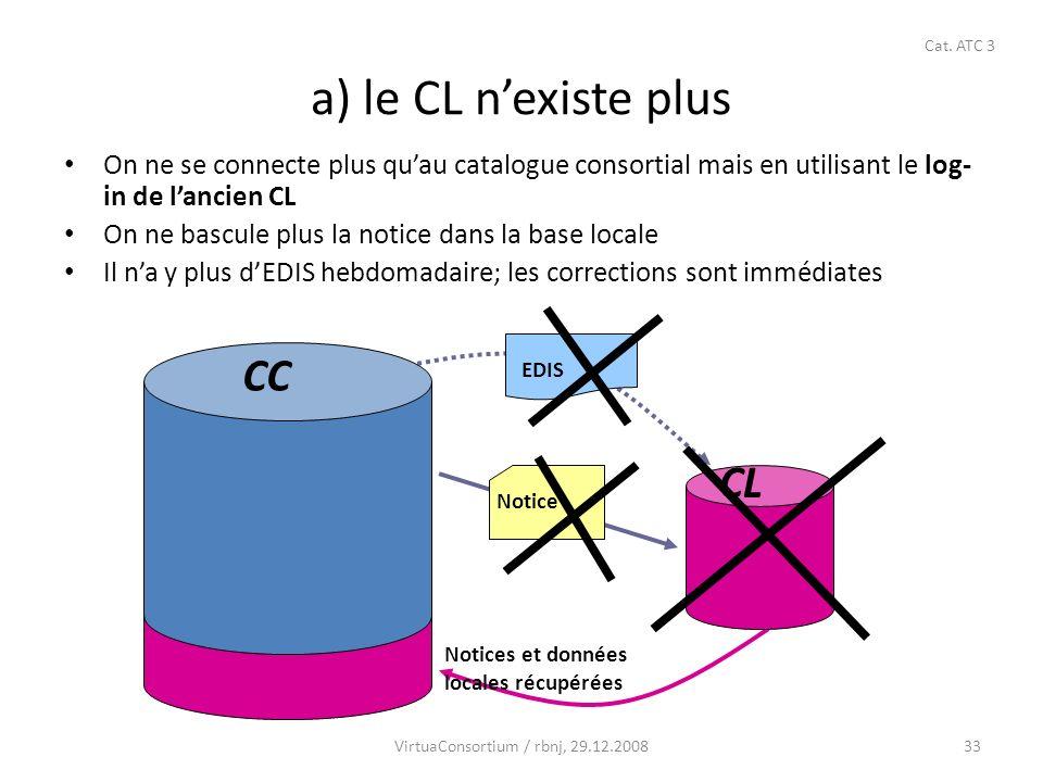33 a) le CL nexiste plus On ne se connecte plus quau catalogue consortial mais en utilisant le log- in de lancien CL On ne bascule plus la notice dans