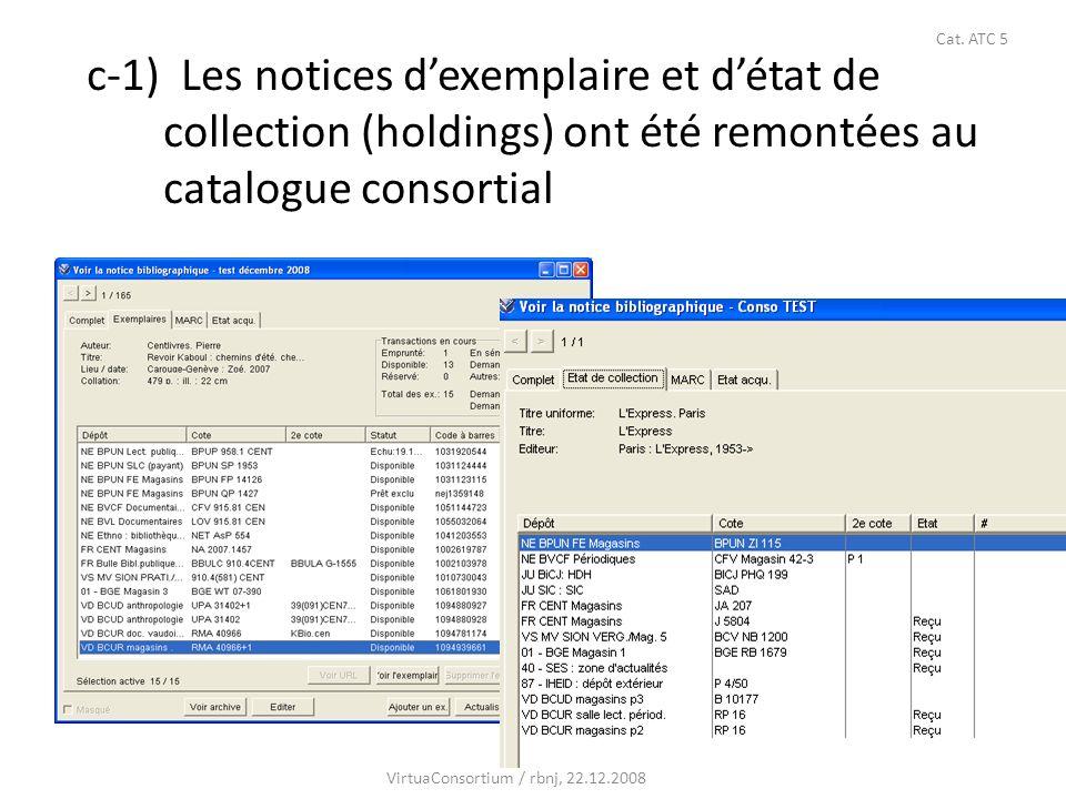 35 c-1) Les notices dexemplaire et détat de collection (holdings) ont été remontées au catalogue consortial VirtuaConsortium / rbnj, 22.12.2008 Cat. A