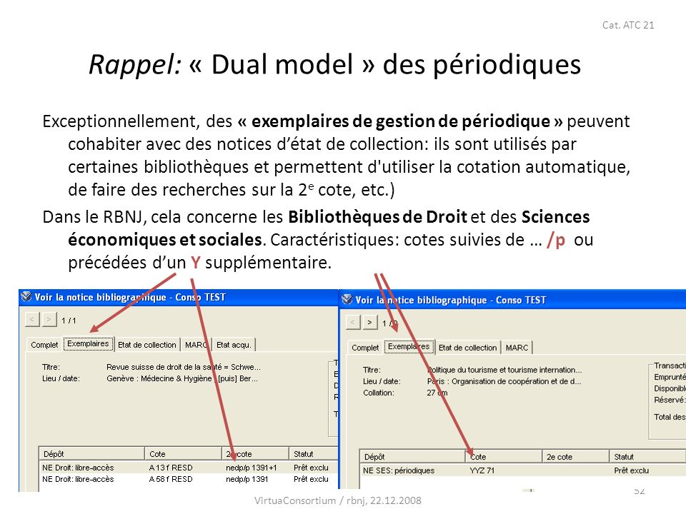 52 Rappel: « Dual model » des périodiques Exceptionnellement, des « exemplaires de gestion de périodique » peuvent cohabiter avec des notices détat de