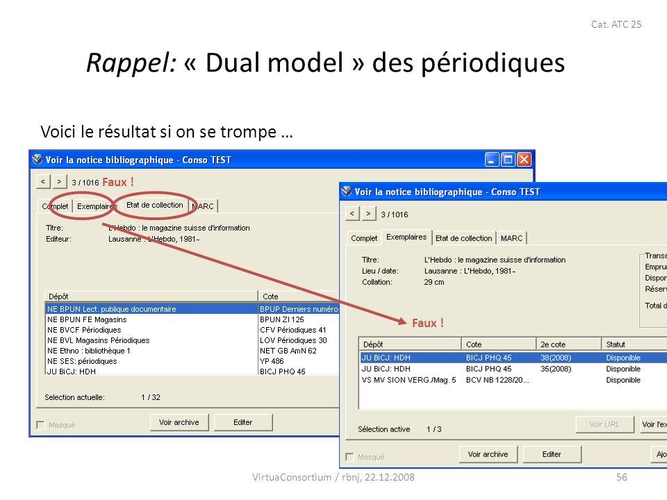 56 Rappel: « Dual model » des périodiques Voici le résultat si on se trompe … Faux ! VirtuaConsortium / rbnj, 22.12.2008 Cat. ATC 25