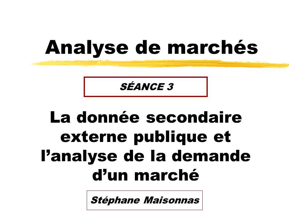 Analyse de marchés La donnée secondaire externe publique et lanalyse de la demande dun marché SÉANCE 3 Stéphane Maisonnas
