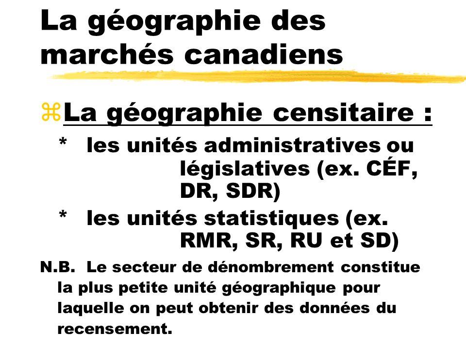 La géographie des marchés canadiens zLa géographie censitaire : *les unités administratives ou législatives (ex. CÉF, DR, SDR) *les unités statistique