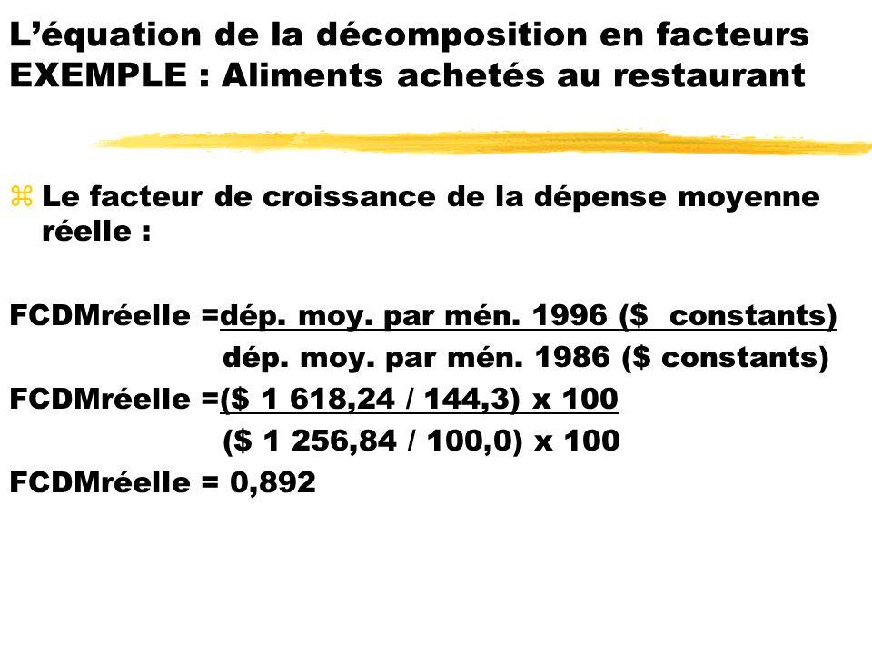 zLe facteur de croissance de la dépense moyenne réelle : FCDMréelle =dép. moy. par mén. 1996 ($ constants) dép. moy. par mén. 1986 ($ constants) FCDMr