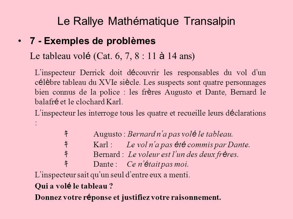 7 - Exemples de problèmes Le tableau vol é (Cat. 6, 7, 8 : 11 à 14 ans) Le Rallye Mathématique Transalpin L inspecteur Derrick doit d é couvrir les re