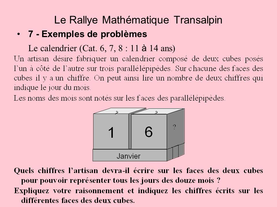 7 - Exemples de problèmes Le calendrier (Cat. 6, 7, 8 : 11 à 14 ans) Le Rallye Mathématique Transalpin