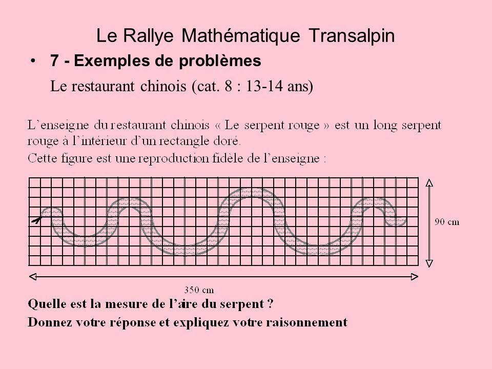 7 - Exemples de problèmes Le restaurant chinois (cat. 8 : 13-14 ans) Le Rallye Mathématique Transalpin