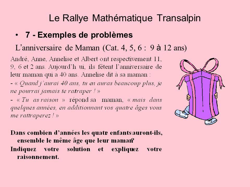 7 - Exemples de problèmes L anniversaire de Maman (Cat. 4, 5, 6 : 9 à 12 ans) Le Rallye Mathématique Transalpin