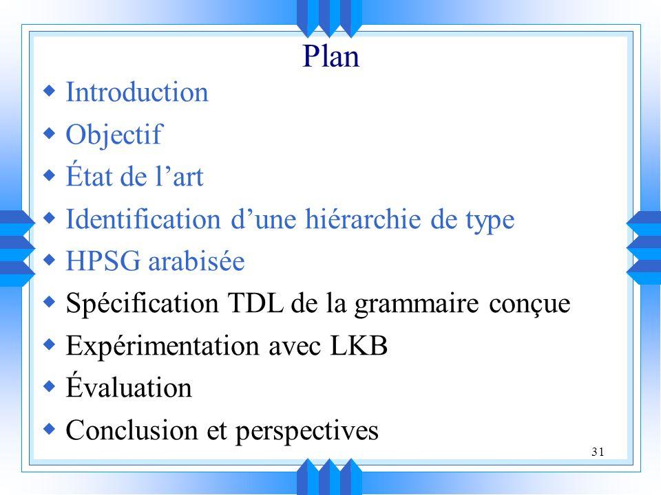 31 Plan Introduction Objectif État de lart Identification dune hiérarchie de type HPSG arabisée Spécification TDL de la grammaire conçue Expérimentation avec LKB Évaluation Conclusion et perspectives