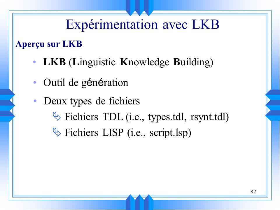 32 LKB (Linguistic Knowledge Building) Outil de g é n é ration Deux types de fichiers Fichiers TDL (i.e., types.tdl, rsynt.tdl) Fichiers LISP (i.e., script.lsp) Expérimentation avec LKB Aperçu sur LKB