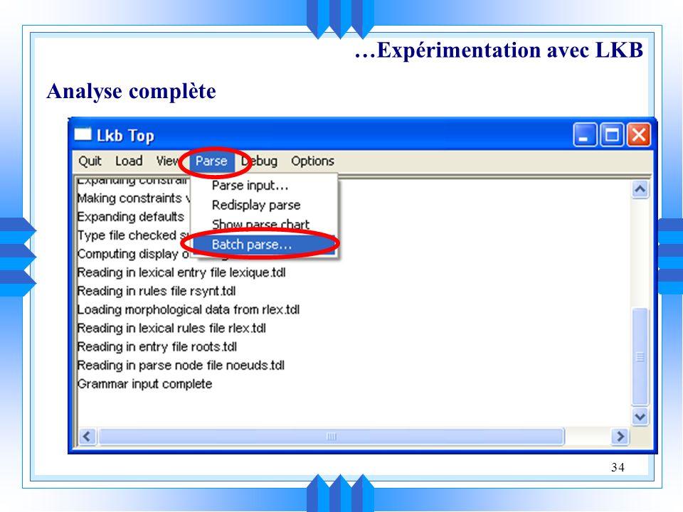 34 Analyse complète …Expérimentation avec LKB