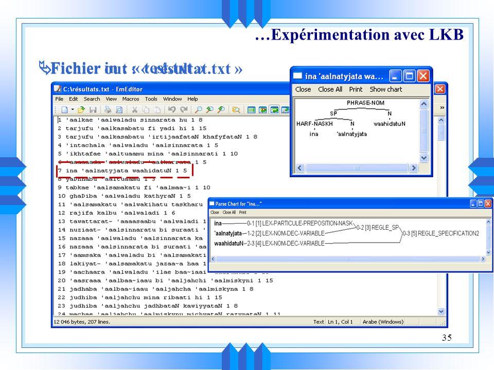 35 …Expérimentation avec LKB Fichier in : « test.txt » Fichier out : « résultat.txt »